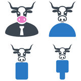 Cow Boss Flat Icons Royalty Free Stock Photography