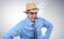 Cow boy businessman in tie portrait Royalty Free Stock Photography