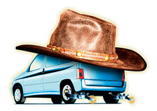 Cow Boy Car (isolated) Stock Images