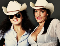 Cow boy girl. Western hat and gray background Stock Photography