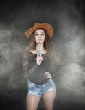 Cow boy with gun. Expression and emotions for people Royalty Free Stock Photography
