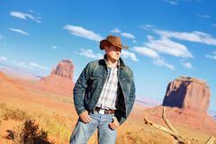 Cow boy spirit. Attractive cow boy in famous Monument valley National tribal park, USA stock images