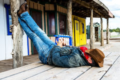 Cow boy spirit. SOUTH WEST - A cowboy takes time to rest and reflect Stock Image