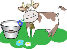 Cow and a bucket of milk Stock Photo