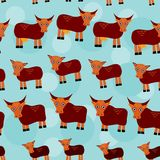 Cow, bull and two calves. Set of funny animals. With cubs seamless pattern on a blue background Stock Photography
