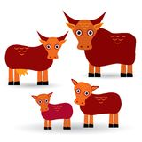 Cow, bull and two calves. Set of funny animals with cubs on white background. vector Stock Photography