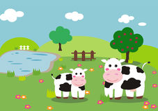 Cow and calf. In a farm landscape with apple tree, pond and flowers. Cartoon style illustration. Eps available Royalty Free Stock Image