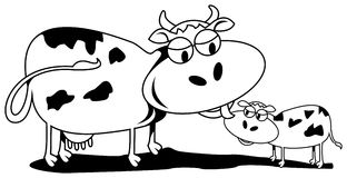 Cow and calf. A cartoon image of cow and calf Royalty Free Stock Photography