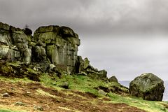 Cow And Calf Rocks. Ilkley West Yorkshire on a Winter Day Stock Photo