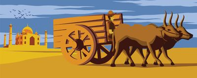 Cow cart move pass Taj Mahal landmark of India,lifestyle of Indian,vintage color royalty free illustration