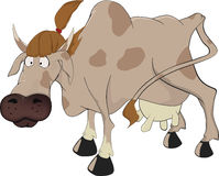 Cow.Cartoon. Brown cow with a hairdress on a head Stock Photo