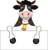 Cow cartoon with blank sign Royalty Free Stock Photos