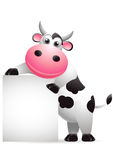 Cow cartoon with blank sign Royalty Free Stock Images