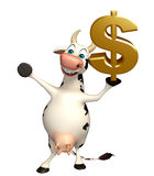 Cow cartoon character with dollar sign Royalty Free Stock Photography