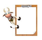 Cow cartoon character exam pad Royalty Free Stock Image