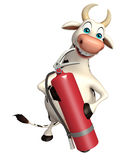 Cow cartoon character with fire extinguisher. 3d rendered illustration of Caw cartoon character with fire extinguisher Stock Image