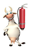 Cow cartoon character with fire extinguisher. 3d rendered illustration of Caw cartoon character with fire extinguisher Royalty Free Stock Photo