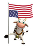Cow cartoon character with flag. 3d rendered illustration of Cow cartoon character with flag Royalty Free Stock Photography