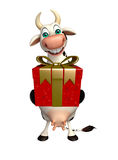 Cow cartoon character with gift box Stock Photography