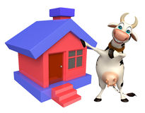Cow cartoon character with home Stock Image