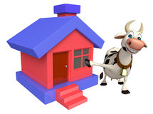 Cow cartoon character with home Royalty Free Stock Photos