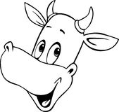 Cow cartoon head - black and white vector outline Royalty Free Stock Photos