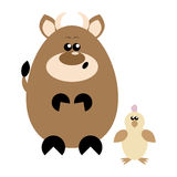 Cow and Chick Surprised. Funny cartoon surprised cow and his chick friend Royalty Free Stock Photos