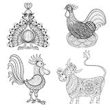 Cow, Chicken in nest, Rooster, Turkey for adult coloring page, z Stock Photography