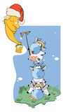 Cow, clean the moon! Cartoon Stock Images