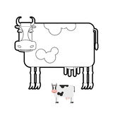 Cow coloring book. Vector illustration of farm animals. Stock Photography