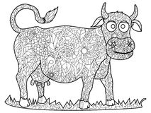 Cow Coloring vector for adults Royalty Free Stock Photography