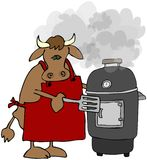 Cow Cooking On A Smoker Grill. This illustration depicts a cow holding a spatula and cooking on a smoker grill Stock Photo
