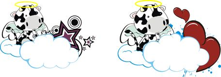Cow cute cartoon angel copyspace Stock Photography