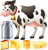 Cow and dairy products Stock Photo