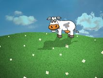 Cow with Daises Stock Photography