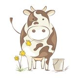 Cow with dandelion Royalty Free Stock Photos