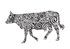 Cow drawing with floral ornament decoration Royalty Free Stock Photos