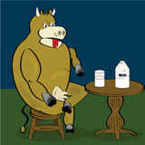 Cow drinking milk. Cartoon illustration of a cow sitting down testing milk from a glass royalty free illustration