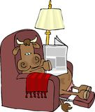 Cow in an easy chair. This illustration depicts a cow sitting in a recliner while reading a newspaper Stock Photo