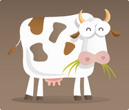 Cow eating grass. Cartoon illustration of Cow eating grass with brown background Stock Image