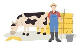Cow eating hay and farmer standing with pitchfork near hay bales. Illustration Royalty Free Illustration