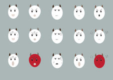 Cow emotion face set Royalty Free Stock Photo