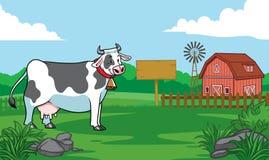 Happy cow in the farm village. Vector of happy cow in the farm village royalty free illustration