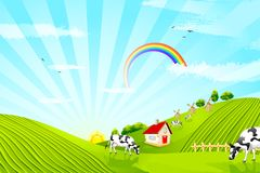 Cow on Farm. Illustration of cattle grazing in beautiful farm landscape Royalty Free Stock Photos