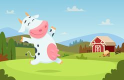 Cow at farm. Field ranch milk animals eating and playing on the grass alpes landscape vector cartoon character. Background. Illustration of cow on green field vector illustration