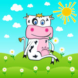 Cow in farm flower, background, vector, music, design, floral Stock Photos