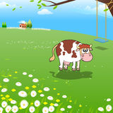 Cow on a Farm. Illustration of Funny Cow at Farm. Funny Cartoon and Vector Scene stock illustration