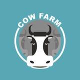 Cow farm logo. Head of a cow. Emblem, sign for farm livestock. V Royalty Free Stock Photos