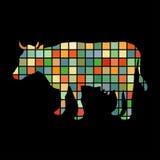 Cow farm mammal color silhouette animal Stock Photography