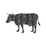 Cow farm mammal color silhouette animal Royalty Free Stock Photos